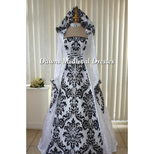 Medieval Gothic Pagan Hooded White & Bold Black Wedding Dress